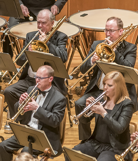 """Darrell Hoemann/CU Symphony during the Champaign-Urbana Symphony's """"Brass Blowout"""" concert in Foellinger Great Hall at Krannert Center on Friday, April 15, 2016."""